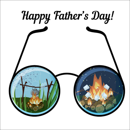 Happy father day greeting card template with glasses and day and night camping landscapes. Illustration