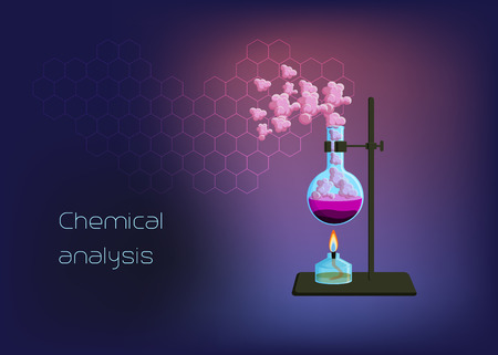 Chemical scientific background template with burner and beaker with solid phase, heating liquid and gas vapor. Vektorové ilustrace