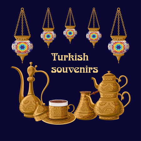 Turkish souvenirs greeeting card template with lanterns and brass utensils pitcher, double kettle, cezve amd coffe cup. Illustration