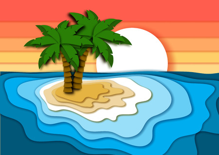 Summer vacation concept with bright tropical island, sand beach, sea or ocean waves and sunset sky. Paper cut out style vector illustration.
