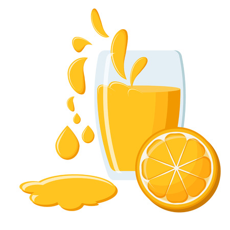 Glass of fresh natural orange juice with juice splashes and half of an orange fruit isolated on white background. Vector illustration in flat style.