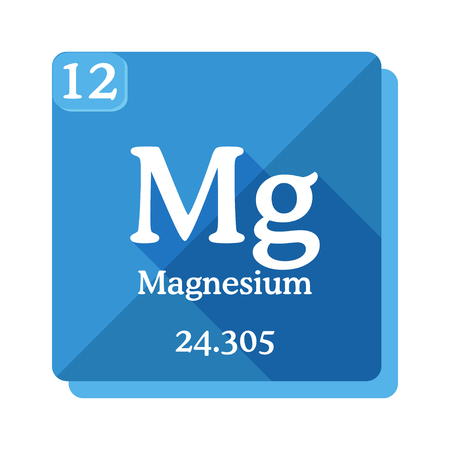 Magnesium chemical element. Periodic table of the elements. Magnesium icon on blue background. Vector illustration in flat style with modern long shadow. Ilustracja