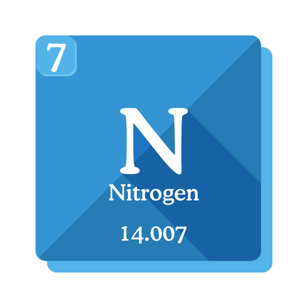 Nitrogen chemical element. Periodic table of the elements. Nitrogen icon on blue background. Vector illustration in flat style with modern long shadow.