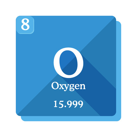 Oxygen chemical element. Periodic table of the elements. Oxygen icon on blue background. Vector illustration in flat style with modern long shadow.