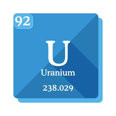 Uranium U - element of the Periodic table. Flat icon with long shadow on blue background.