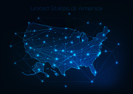 United States of America USA map outline with stars and lines abstract framework. Иллюстрация