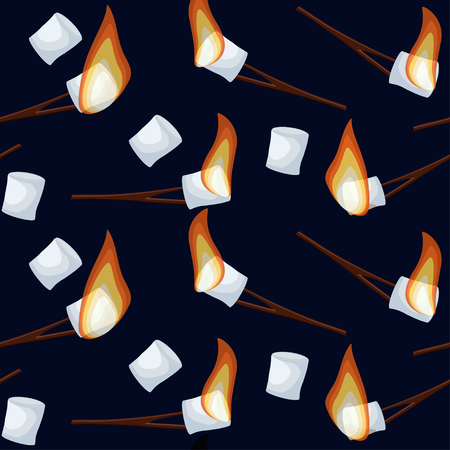Roasting marshmallows seamless pattern isolated on dark blue night sky background.