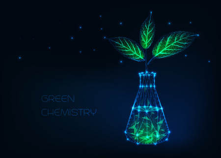 Green chemistry concept with glowing chemical beaker and plant with green leaves made of stars, lines, dots, triangles. Futuristic scientific background. Low poly wire frame vector design.