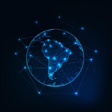 Sud America sul pianeta Terra vista dallo spazio con i continenti delinea sfondo astratto. Vettoriali