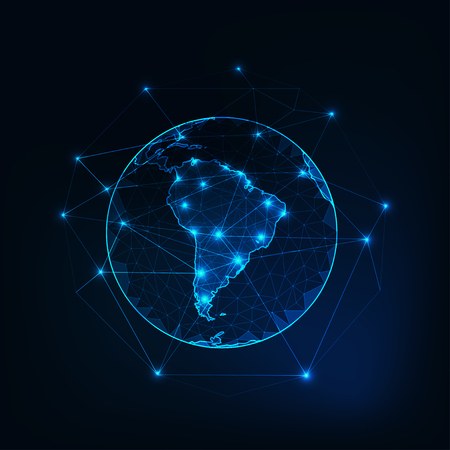 Zuid-Amerika op de weergave van de planeet aarde vanuit de ruimte met continenten schetst abstracte achtergrond. Vector Illustratie