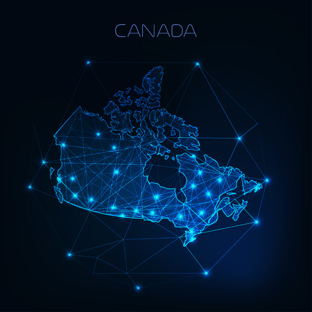 Canada map outline with stars and lines abstract framework. Communication, connection concept. 写真素材 - 108151928