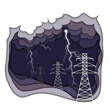 Concepto de energía eléctrica. Líneas de energía eléctrica y relámpagos sobre fondo nublado púrpura oscuro. Tipos de energía para niños, parte 1. Papel recortado ilustración vectorial. Ilustración de vector