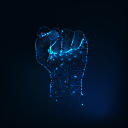 Female fist silhouette, raised hand made of glowing stars, lines, dots, points, triangles, low polygonal shapes.