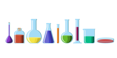 Chemical glassware with bright colorful solutions set isolated on white background. Various beakers,flasks,test tubes, bottles, petri dish. Science for kids. Flat style vector illustration.