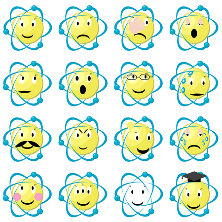 Atom emoticons icons set. Set of atomic emoji. Science physics smiley set. Flat vector illustration isolated on white background.