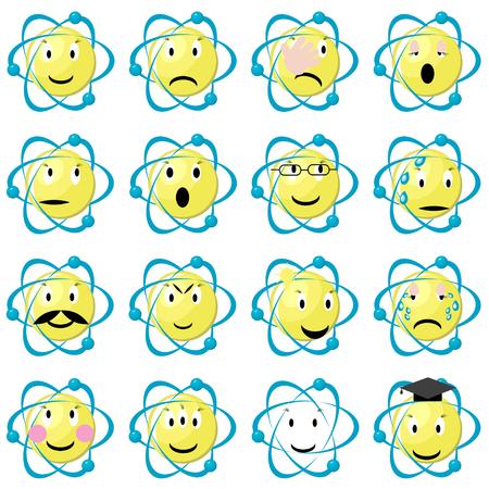 Atom emoticons icons set. Set of atomic emoji. Science physics smiley set. Flat vector illustration isolated on white background.