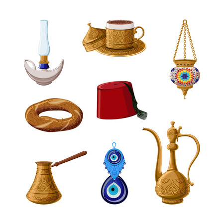 Turkish heritage icon set, part 1. Alladin lamp, brass coffee cup, cezve, kettle, lantern, fez, simit, boncuck.