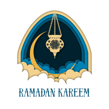 Ramadan Kareem greeting card template with arch, moon, lantern, clouds and text.