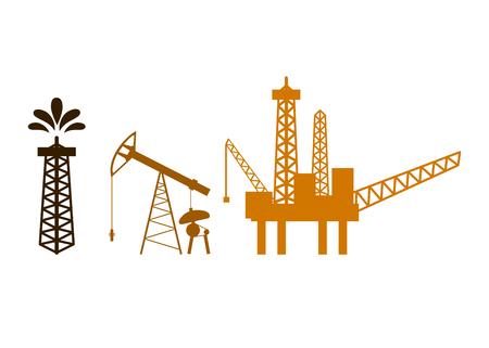 Plataforma petrolera, torre, bomba, silhouetes de plataforma marítima costa afuera aisladas sobre fondo blanco. Ilustración de vector