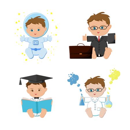 Baby boy dream jobs, professions set. Astronaut, businessmen, teacher, scientist kids. Vectores