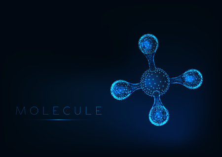 Molécula brillante abstracta con modelo de estructura tetraédrica con átomos y enlaces.