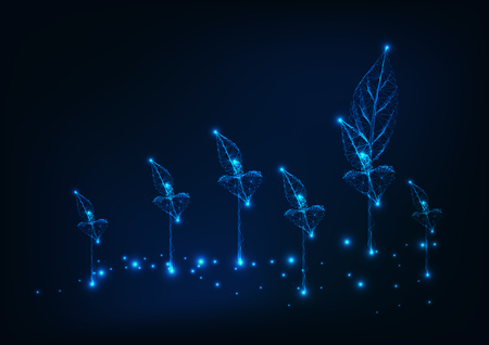 Farm field with new sprouts. Agriculture concept. Glowing low poly wireframe background on dark blue. Vector illustration.