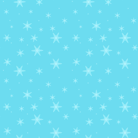 Beautiful falling snowflakes on blue sky seamless pattern.