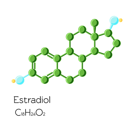 Estradiol hormone structural chemical formula isolated on white background.