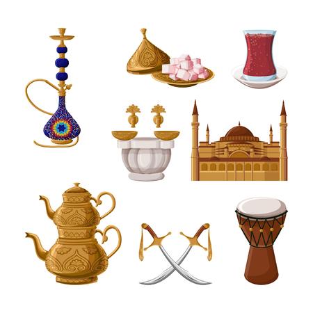 Turkish traditional heritage. Hookah, brass teapot, turkish delights, tea glass, hammam, Hagia Sophia, scimitar, drum