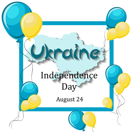 Ukraine Independence Day, August 24 greeting card template with balloons, frame, map and text on white background. Cartoon vector illustration in flat style. Ilustração