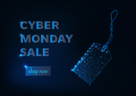 Cyber monday sale online shopping banner template with glowing low poly tag made of stars and lines, promo text and button shop now. Futuristic design wireframe vector illustration.