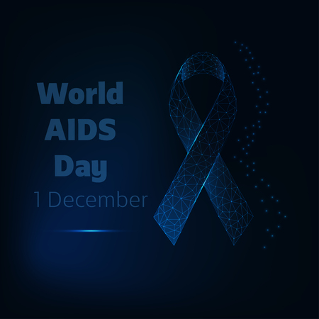 World Aids day, December 1 poster template with glowing low polygonal ribbon and text on dark blue background. Futuristic design vector illustration.