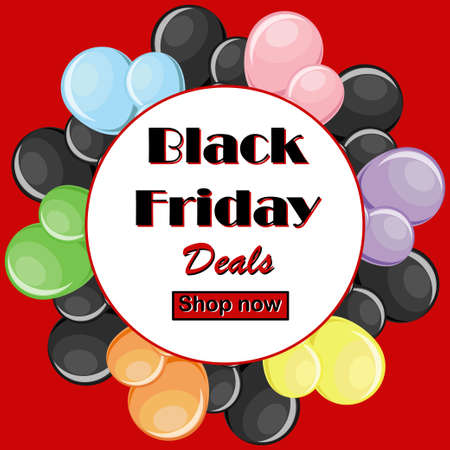 Black Friday deals concept with colorful balloons and round white frame on red background with button shop now. Vector illustration in flat style. Иллюстрация