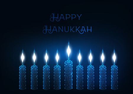 Happy hanukkah greeting card template with nine glowing burning candles on dark blue background.