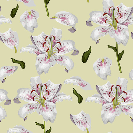 Beautiful oriental lily flowers, leaves and petals on pastel green background sramless pattern.