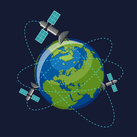 Artificial satellites orbiting the planet Earth in outer space isolated on dark blue background.