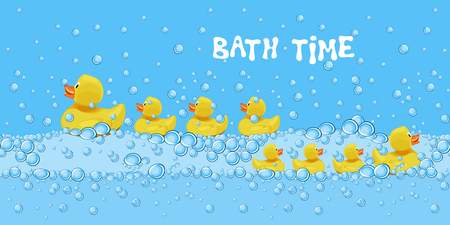 Set of cute rubber duck toys swimming in the bath water with soap bubbles. Children bathroom background with text bath time. Cartoon style vector illustration.