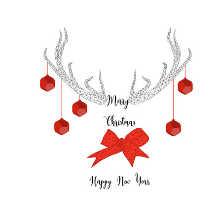 Merry Christmas and Happy New year greeting card template with reindeer antlers, balls, ribbon bow and text in black and red isolated on white background. Trendy geometric low poly vector illustration