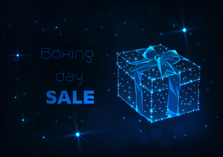 Boxing day sale online shopping banner template with glowing low polygonal gift box with bow ribbon, shiny stars and promo text on dark blue background. Futuristic wireframe design vector illustration Иллюстрация