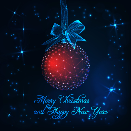 Merry Christmas and Happy New Year gteeting card template with red glowing low poly decoration ball with ribbon bow, stars and text on dark blue background. Futuristic wireframe vector illustration.