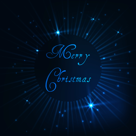 Merry Christmas greeting card template with glowing rays, shiny stars and text on dark blue background. Modern design vector illustration.