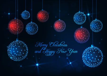 Merry Christmas and Happy New Year greeting card template with glowing low poly red and blue decorative balls, text and stars on dark night background. Modern wireframe design vector illustration.