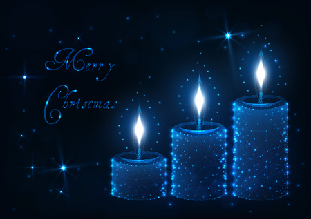 Merry Christmas greeting card template with three decorative aroma candle sticks with light flames, shiny stars and text on dark blue background. Modern low poly wireframe design vector illustration.