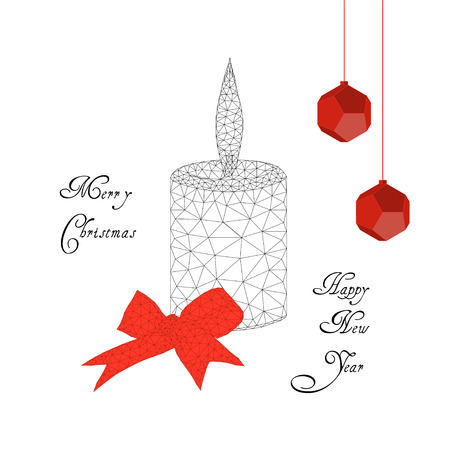 Merry Christmas and Happy New Year card with burning candle, ribbon, bow, decoration balls and text