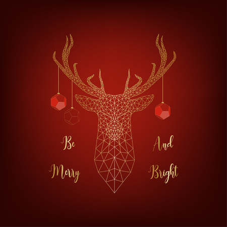 Christmas card with golden deer decorated by balls and text Be merry and bright on red background