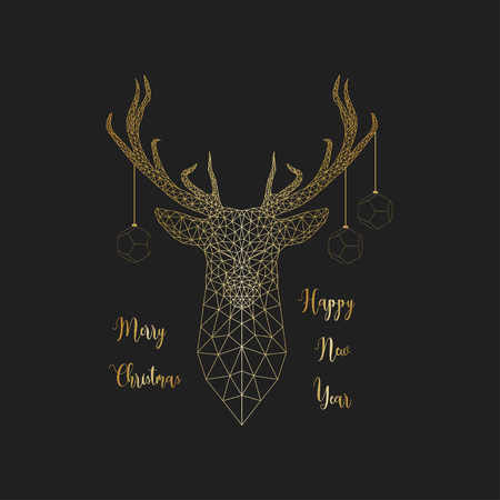 Merry Christmas and Happy New Yea card with golden low poly deer head on black
