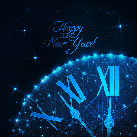 Happy New Year greeting card with glowing low poly roman numeral clock on dark blue background. Иллюстрация