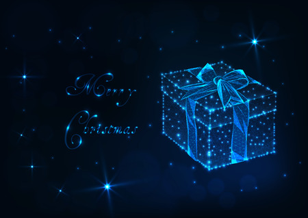 Merry Christmas greeting card template with glowing low polygonal gift box with ribbon bow, shiny stars and text on dark blue background. Futuristic wireframe design vector illustration.