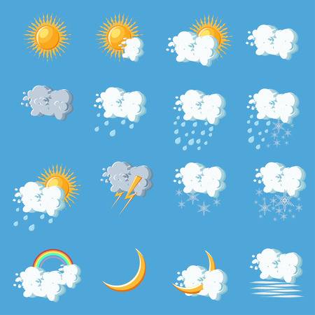 Weather icons in cartoon style on blue background. Flat vector illustration.