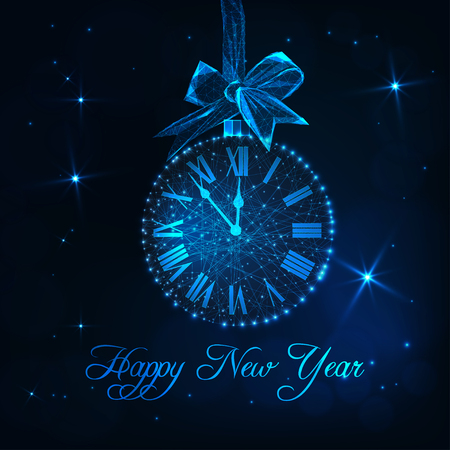 Happy New Year greeting card with roman numeral clock as a christmas ball, ribbon bow and text. Иллюстрация